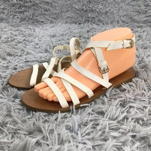 J. Crew 7 Leather Criss Cross Ankle Strap Sandals